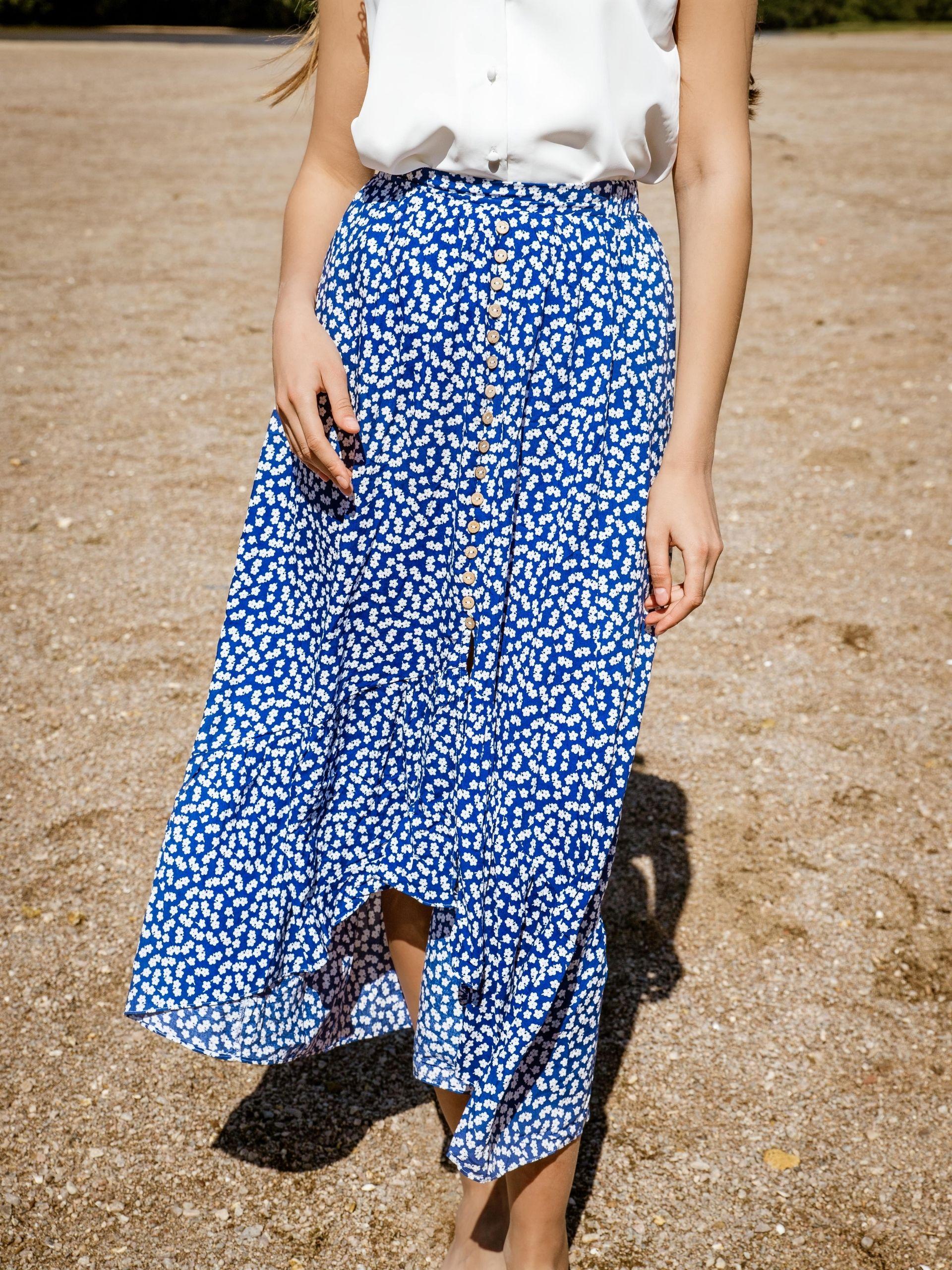 Jupe longue fleurie bleue