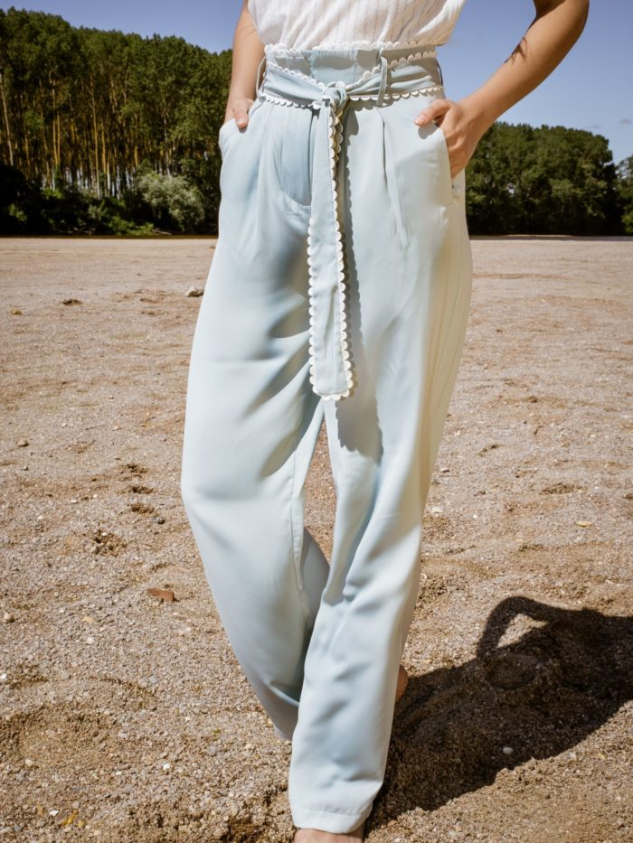 Pantalon fluide vert femme