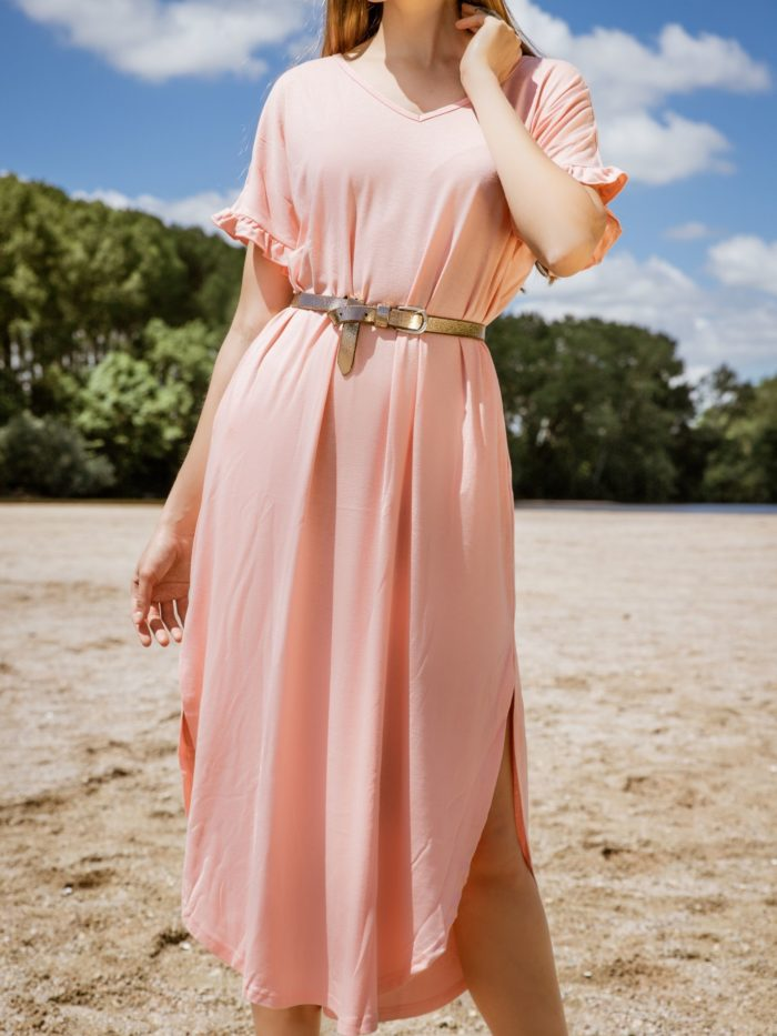 Robe longue fluide rose