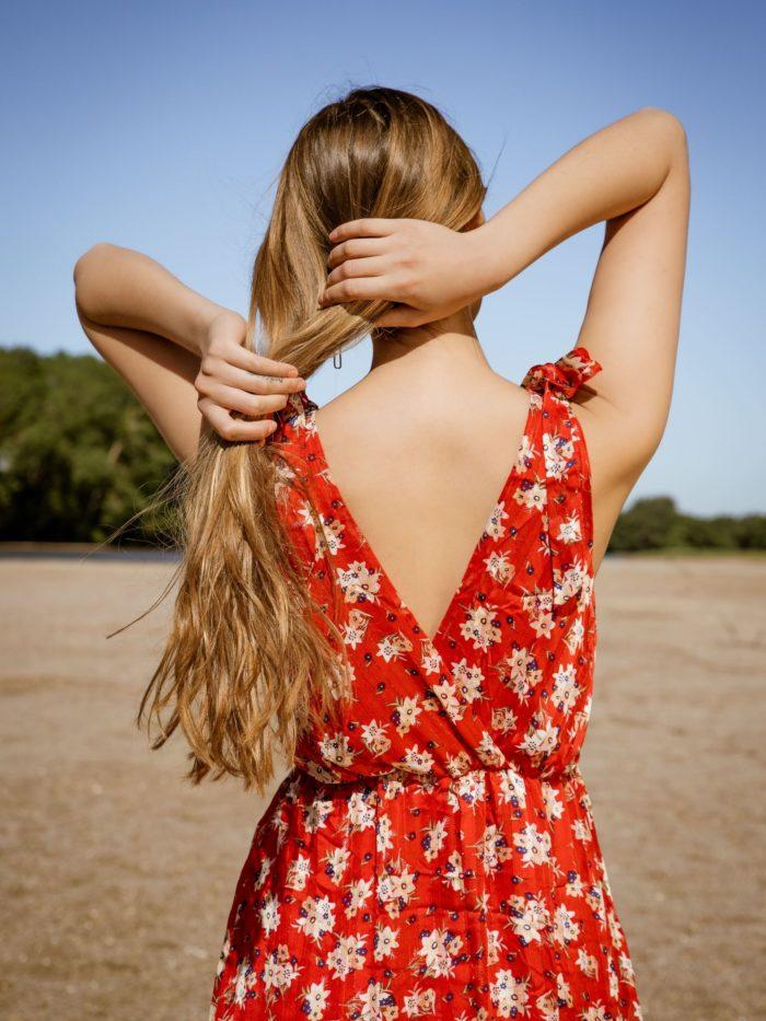 Robe longue rouge fleurie
